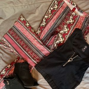 Hot kiss patterned flare pants.